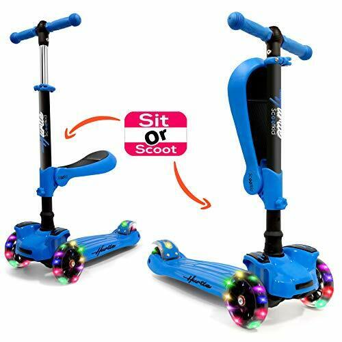 Hurtle HURFS56 3-Wheeled Blue Toy Scooter for Kids with Built-In LED Wheel Light
