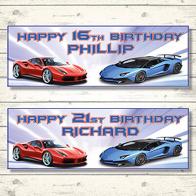 2 PERSONALISED FAST CARS FERRARI LAMBORGHINI BIRTHDAY BANNERS - ANY NAME/AGE