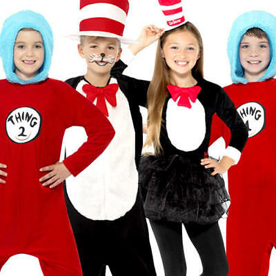 Cat In The Hat Costume For Girls (Cat In The Hat or Thing 1 & 2  Kids Fancy Dress Dr Seuss Book Day Childs)