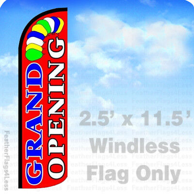 Grand Opening - Windless Swooper Flag Feather Banner Sign 2.5x11.5 Balloons Rz