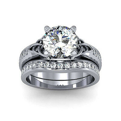 4.20 Ct. Natural Round Cut Celtic Knot Diamond Engagement Set - GIA Certified