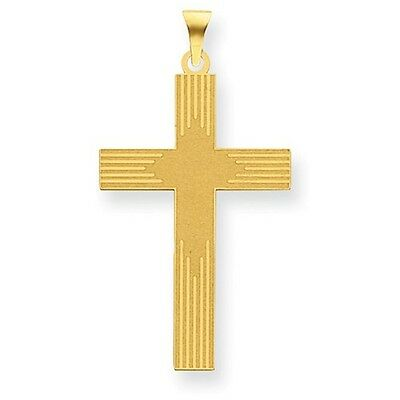 14K Yellow Gold Laser-Cut Stripe Design Cross Charm Pendant  1.61 - Design Gold Laser Charm