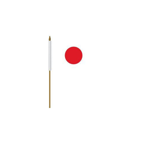 """JAPAN COUNTRY SMALL 4 X 6  MINI STICK FLAG WITH 10"""" PLASTIC POLE"""