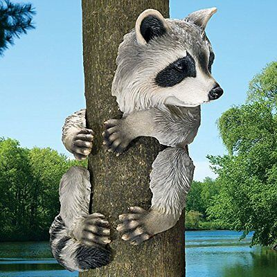 Raccoon Statue Tree Hugger Animal Resin Outdoor Sculpture Garden Decor Yard Art
