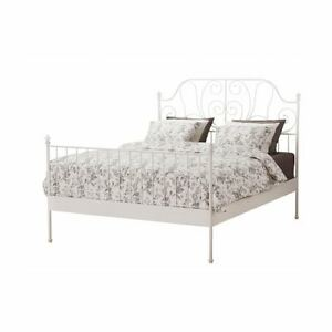 Ikea LEIRVIK QUEEN SIZE bed frame in white metal