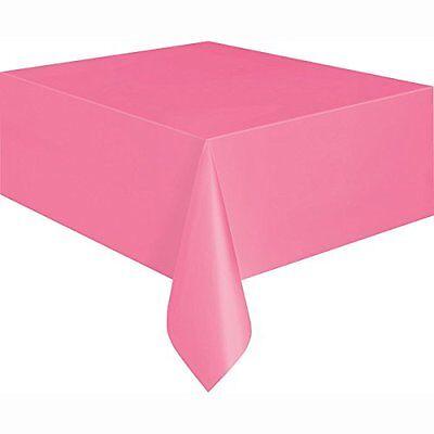 Hot Pink Plastic Tablecloth, 9ft x 4.5ft - Hot Pink Plastic Tablecloth