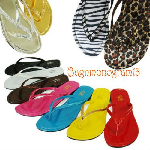 Women Shoes Glitter Flip Flops T Strap Thongs Beach Sandals
