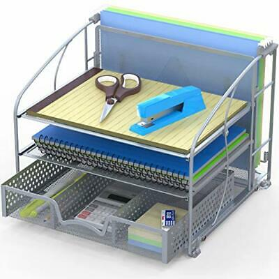 Office Supplies Desk Organizer 3 Tray Wsliding Drawer And Hanging File Holder