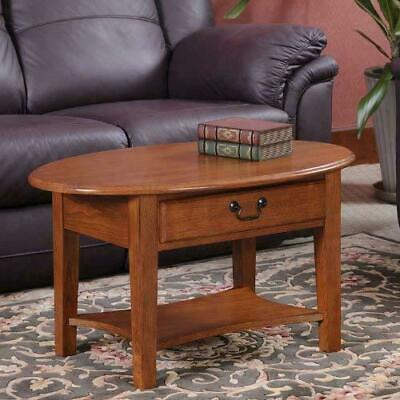 Oak Oval Coffee Table With Drawer Shelf Solid Wood Living Room Furniture Storage