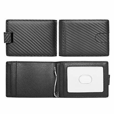 Black Slim Real Leather Carbon Fiber Patterns RFID Blocking Bi-fold Wallet