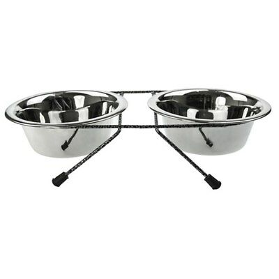 Pet Dog Cat Food Bowl Saucer Dish w Stand 2 Elevated Pet Bowls on Stand 350ml