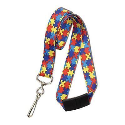 5 Pack - Autism Awareness Breakaway Neck Lanyard W Swivel Hook By Specialist Id