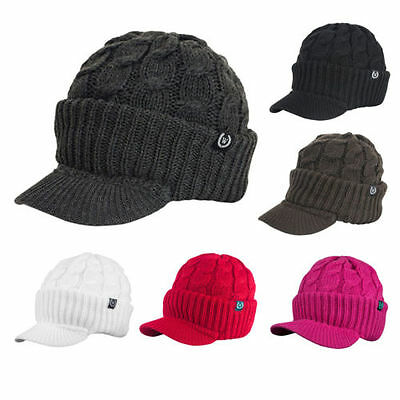 Unisex Chunky Cable Knit Visor Brim Winter Hat Beanie Thick & Warm Men Women -