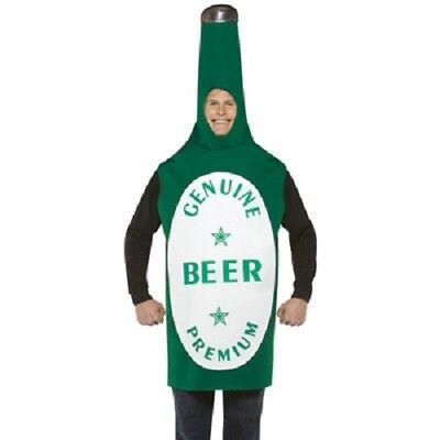 Da Uomo Adulti Bottiglia di Birra Costume Bevanda Vestito Abito Verde Nuovo