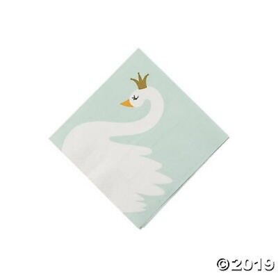 SWAN Party Paper Napkins Birthday Baby Shower Beverage Size 16 ct Baby Shower Paper Plates Napkins