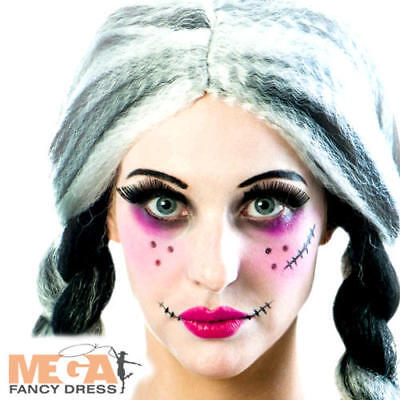 Gothic Doll Halloween Makeup (Gothic Rag Doll Make Up Kit Ladies Fancy Dress Halloween Costume Accessory Set)