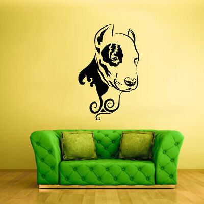 Wall Vinyl Sticker Bedroom Decal Pitbull Dog Face Animal (Z2435)