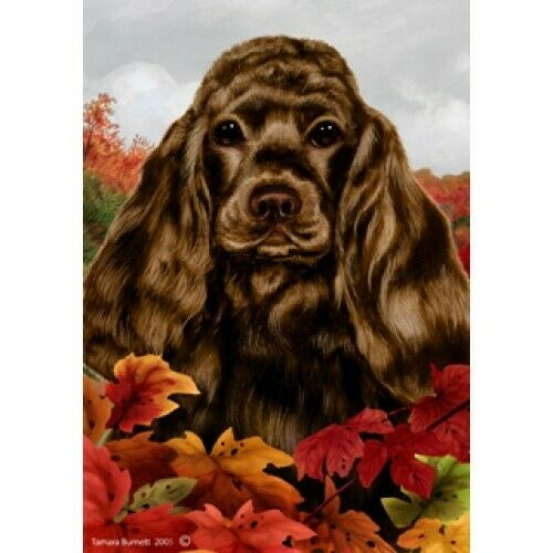 Fall House Flag - Chocolate Cocker Spaniel 13206