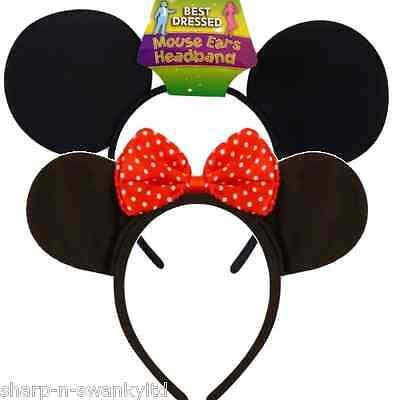 Damen Herren Mickey Minnie Maus Ohren Stirnband Kostüm Verkleidung Zubehör ()