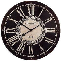 Vintage Roman Numeral Big Wall Clock 23 Hotel Home Decor Rustic Shabby Chic Art