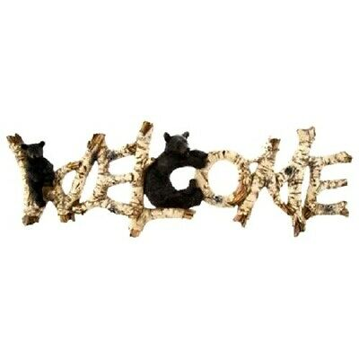 Wall Decor Birch Finish Welcome Sign With Bears Cabin, Lodge Theme Nature Lovers Natural Birch Finish