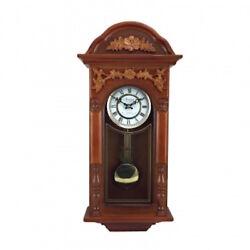 BEDFORD 27.5 PADAUK OAK FINISH GRANDFATHER WALL CLOCK with 4 CHIMES PENDULUM