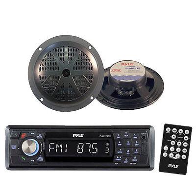 Indash Marine SD USB AM/FM Radio Receiver & Wireless Bluetooth /2 Black Speakers (Am Fm-radio, Marine)