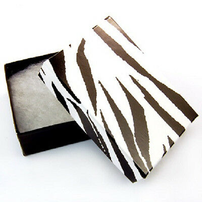 Wholesale 100 Small Zebra Print Cotton Fill Jewelry Ring Earring Gift Boxes 178