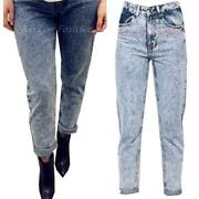High Waisted Acid Wash Jeans
