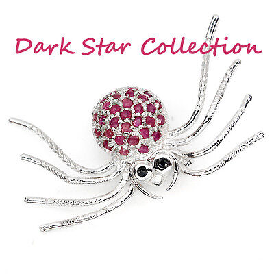 22.45 Ct-tcw Ruby Sapphire Brooch Pin / African SAPPHIRE & RUBY SPIDER PIN