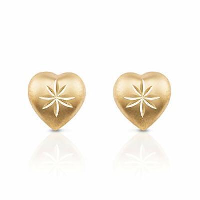 Solid 14K Yellow Gold Diamond Cut Heart Push Back Stud Earrings for Women Cute Solid 14k Gold Heart Earrings