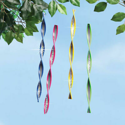 Set of 4 Reflective Ribbon Garden Spinners in Multicolor