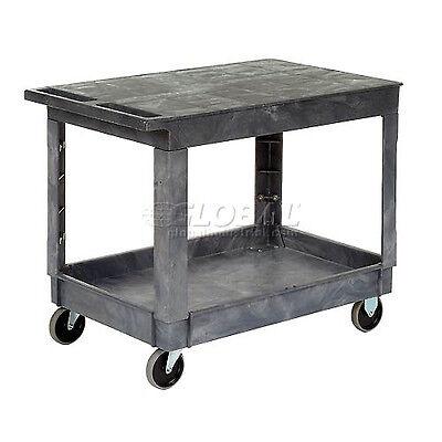 Best Value Plastic Flat Top Shelf Service Amp Utility Cart - 5 Inch Rubber ...