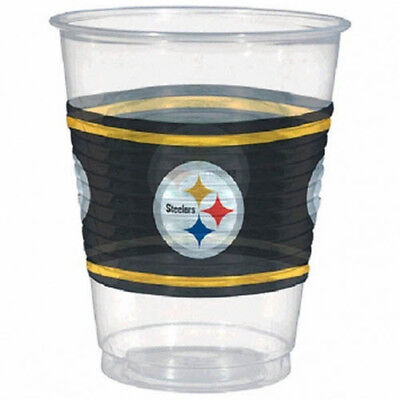 NFL PITTSBURGH STEELERS PLASTIC CUPS (25) ~ Birthday Party Supplies Beverage (Nfl Party Supplies)