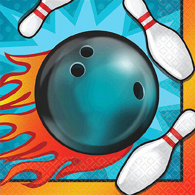 Bowling Party Supplies (BOWLING SMALL NAPKINS (16) ~ Sports Birthday Party Supplies Cake Beverage)