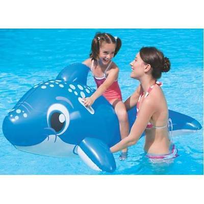 """63"""" LARGE INFLATABLE RIDE ON DOLPHIN BEACH SWIMMING POOL TOY"""