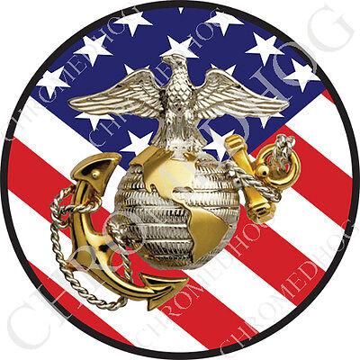 (Premium Round 3M Epoxy Gel Domed Decal or Flat Sticker - USMC Marine Corps Flag)