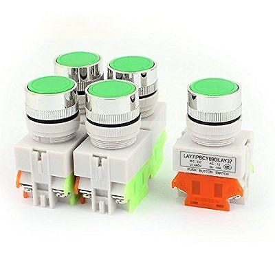 5 Pcs Green 22mm Startstop No Lamp Push Button Switch 120240v 10amp Momentary