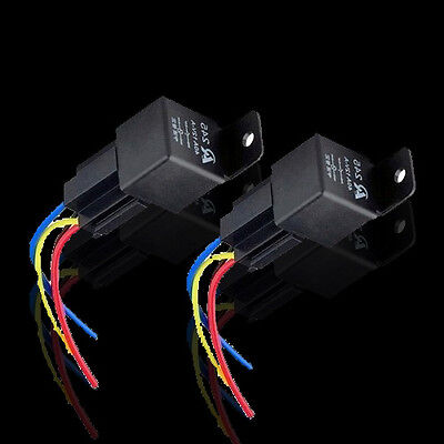 2 Pack Car 12V 40A 40 A SPST Relay & Socket 4 Pin 4 P 4 Wire