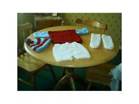 hand crocheted to order baby boys football kit 0-3 months