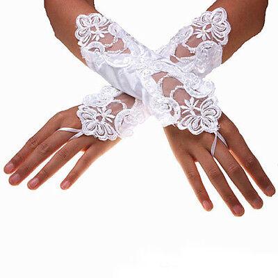 White Bride Wedding Party Evening Dress Fingerless Lace Satin Bridal Gloves