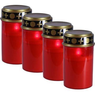Memorial Candle Set - Set 4 Red LED Memorial Candle burner Eternal light flicker effect *SOLAR* 12CM