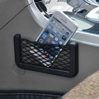 Black Elastic Phone Holder Storage Seat Side Storage Net Pocket Car Organizer