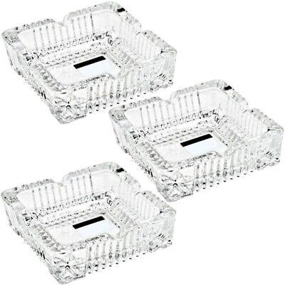 3x Glas Aschenbecher Aschen-Becher Ascher im Kristall Design massive Ausführung