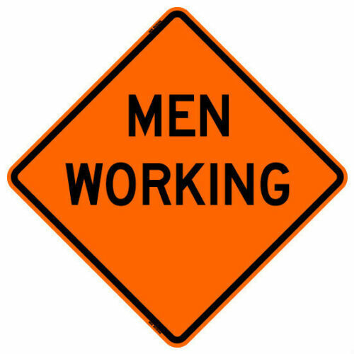 "MEN WORKING (48"") Roll-Up Sign with Ribs..FLUORESCENT VINYL"