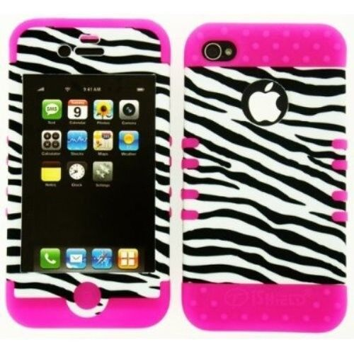 Hybrid 2 in 1 Case Hard Cover Black and White Zebra on Hot Pink for iPhone 4 4s