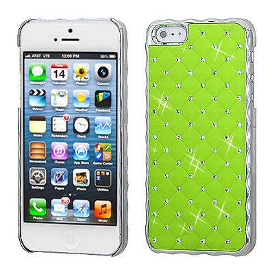 Pearl Green Lattice Rhinestone Alloy Apple iPhone 5 5S SE Faceplate Hard Case