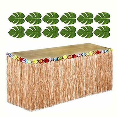 Hawaiian Luau Party SET - 12 Green Tropical Leaves, 1 Brown Grass Table Skirt - Hawaiian Grass Table Skirts