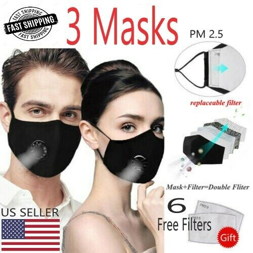 3 PACK OF BREATHABLE< FILTERED FACE MASK W/ COOL AIR VENTILATOR