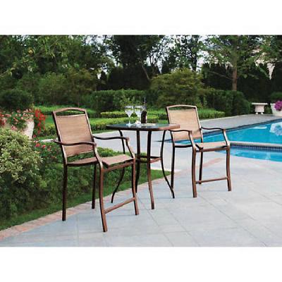 Garden Furniture - Outdoor Bistro Set 3-Piece Bar Height Table Chair Outdoor Patio Garden Furniture